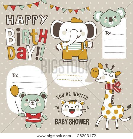 Cute cartoon animals greeting cards, gift tags and stickers