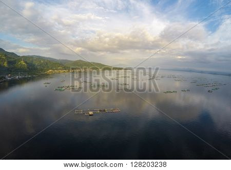 Aerial view of fish farm in Taal Lake