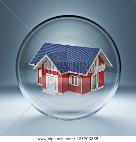 3d image of classic house in a glass bubble