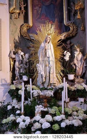 ZIEMETSHAUSEN, GERMANY - JUNE 09: Our Lady of Fatima, Maria Vesperbild Church in Ziemetshausen, Germany on June 09, 2015.