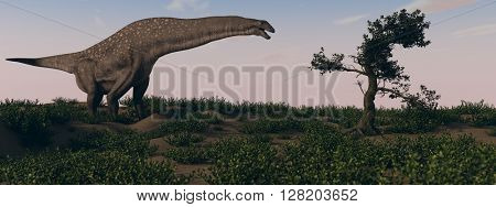 3d illustration of grazing titanosaurus