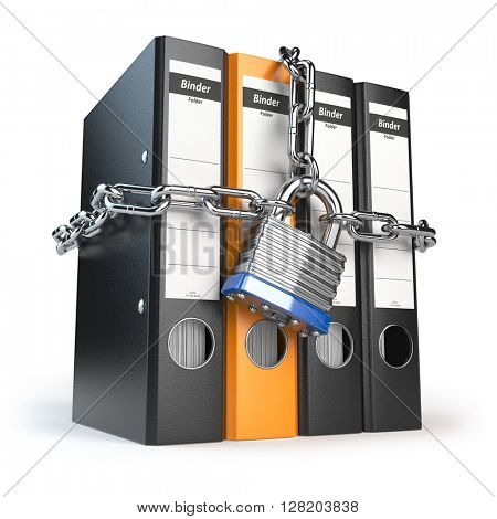 Data and privacy security. Information protection. File folder and chain with lock. 3d illustration