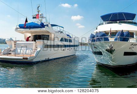 Dubai U.A.E. - February 15 2007: Luxury yachts in the marina of the Yacht Club