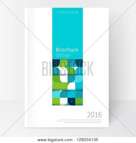 Business brochure cover template. cover design annual report, flyer, corporate booklet, business card, leaflet, poster. Geometric Abstract background White, blue and green squares. stock-vector EPS 10