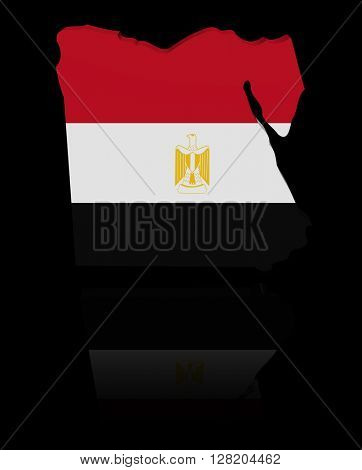 Egypt map flag with reflection 3d illustration