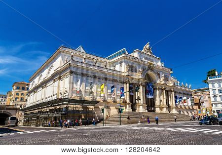 Rome, Italy - May 10, 2014: View of the Palazzo delle Esposizioni. The Palazzo delle Esposizioni is a neoclassical exhibition hall, cultural center and museum on Via Nazionale in Rome.