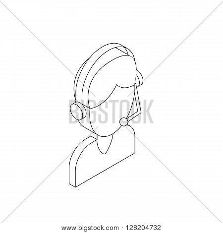 Male customer support operator with headset icon in isometric 3d style on a white background