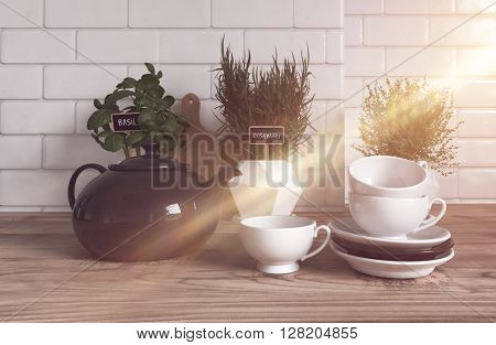 Trio of Herbs Growing Variety of Containers on Modern Wooden Kitchen Counter with Tea Pot, Cups and Saucers in Foreground Lit Brightly by Streaming Sun Beam. 3d Rendering.