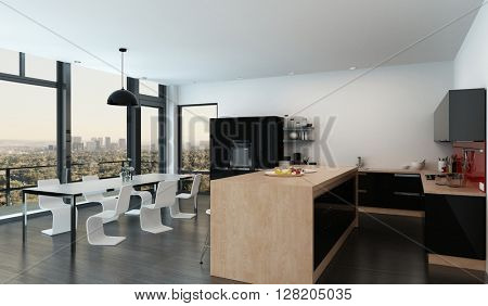 Spacious open-plan kitchen dining room interior with stylish modern furniture and fittings and a long floor-to-ceiling view window overlooking an outdoor balcony and large city at dusk. 3d rendering