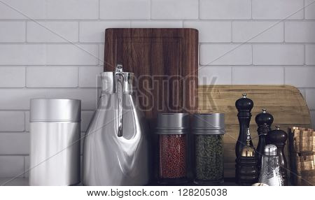 Still Life of Modern Kitchen Wares Arranged Neatly on Counter - Various Herbs and Spices in Variety of Containers in Kitchen with White Tile Backsplash Wall. 3d Rendering.