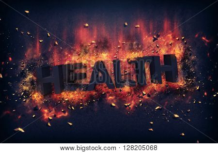 Burning embers and exploding flames surrounding the word health over black background