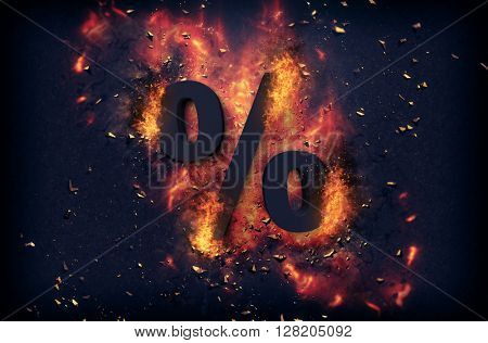Burning coals and exploding flames surrounding a percentage sign over black background