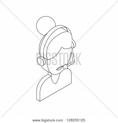 Female customer support operator with headset icon in isometric 3d style on a white background