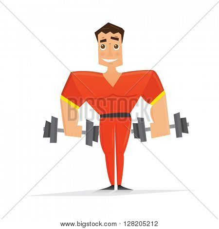 Man in red with dumbbells isolated on white background. Vector illustration. Sportsman with smile. Boy hold dumbbells in hands.