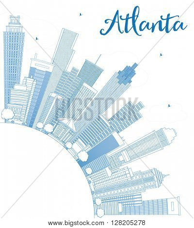 Outline Atlanta Skyline with Blue Buildings and Copy Space. Vector Illustration. Business Travel and Tourism Concept with Modern Buildings. Image for Presentation Banner Placard and Web Site.