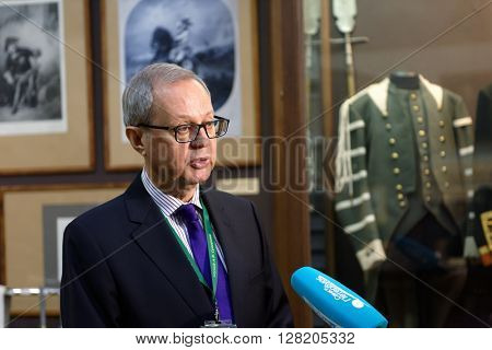 ST. PETERSBURG, RUSSIA - APRIL 27, 2016: Director of the State Memorial Suvorov Museum Vladimir Gronsky during the ceremony dedicated to 65th anniversary of the re-creation of the museum