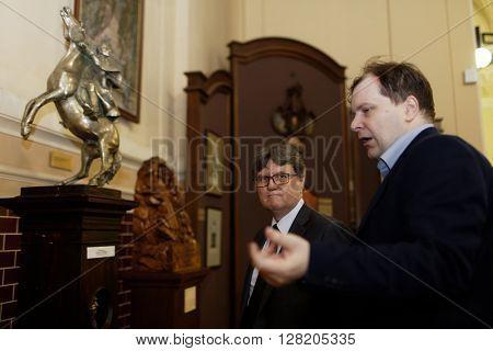 ST. PETERSBURG, RUSSIA - APRIL 27, 2016: Guest of honor from Switzerland in the State Memorial A. V. Suvorov Museum during the ceremony dedicated to 65th anniversary of its re-creation