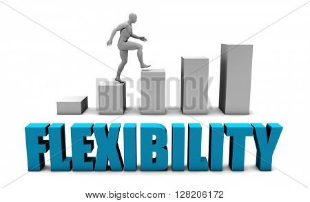 Flexibility 3D Concept  in Blue with Bar Chart Graph 3D Illustration Render