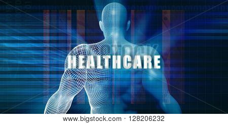 Healthcare as a Futuristic Concept Abstract Background 3D Illustration Render
