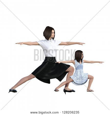 Mother Daughter Interaction of Exercise Yoga as an Illustration Concept 3D Illustration Render