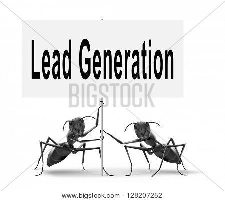 Lead generation, internet marketing for online market and commerce sales, road sign billboard.