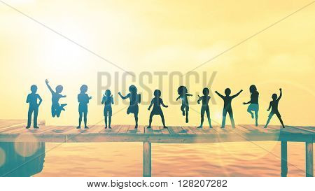 Happy Children Playing in the Park Illustration 3D Illustration Render
