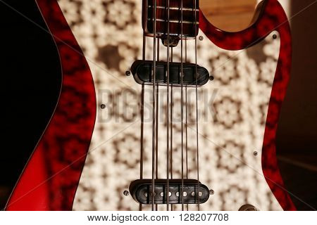 Electric guitar with shadow pattern, close up
