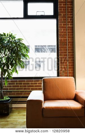 Cushy chair in loft apartment with houseplant in front of window.