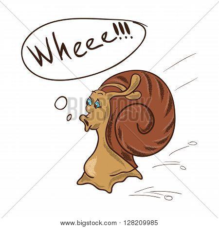 Funny snail crawling and joyful shouts. Cartoon character.