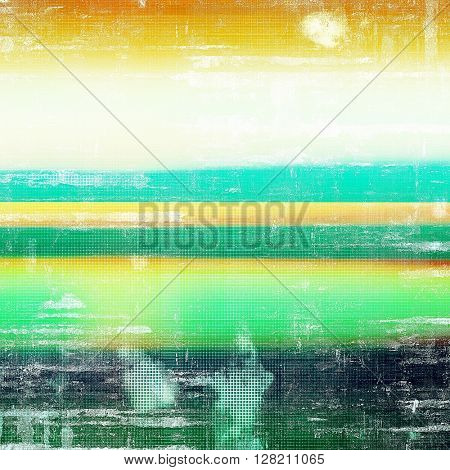Vintage style designed background, scratched grungy texture with different color patterns: yellow (beige); green; blue; red (orange); white