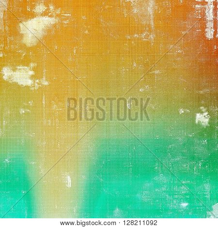 Retro style abstract background, aged graphic texture with different color patterns: yellow (beige); green; blue; red (orange); white; cyan