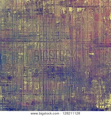 Grunge retro texture, aged background with vintage style elements and different color patterns: yellow (beige); brown; gray; blue; purple (violet); pink