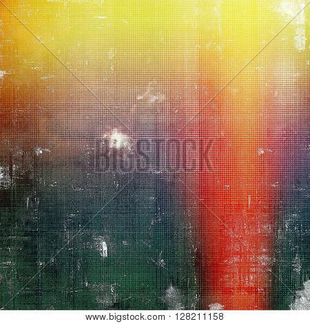Old style decorative composition or designed vintage template with textured grunge elements and different color patterns: yellow (beige); brown; green; red (orange); pink