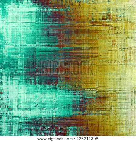 Oldest vintage background in grunge style. Ancient texture with different color patterns: yellow (beige); brown; blue; red (orange); cyan