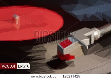 Vector low poly vinyl music plate triangle background