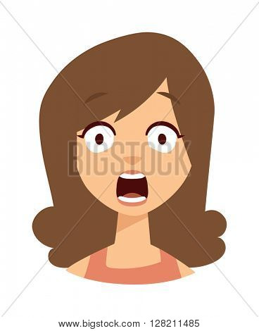 Women scary face vector illustration.
