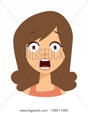 Women scary face vector illustration.