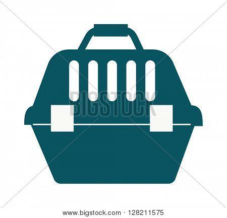 Pet travel plastic carrier case vector illustration.