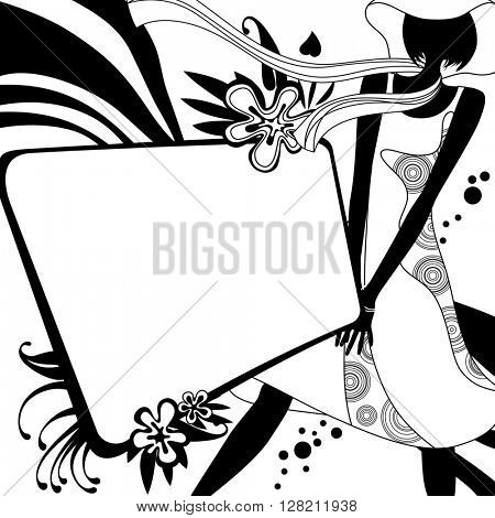 Fashion template page with silhouette of girl in black and white colors. Original design for  coloring book