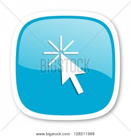 click here blue glossy icon