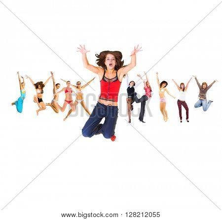 Jumping Together People Celebrating