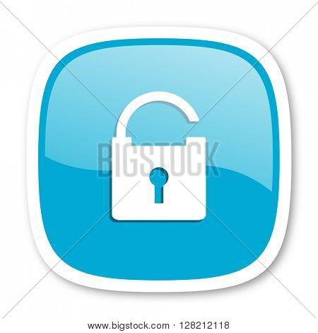 padlock blue glossy icon
