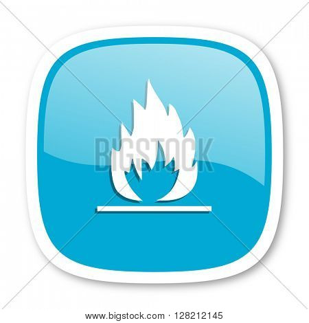 flame blue glossy icon