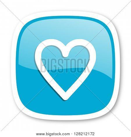heart blue glossy icon