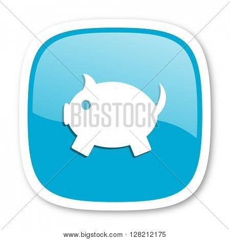piggy bank blue glossy icon