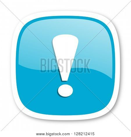 exclamation sign blue glossy icon