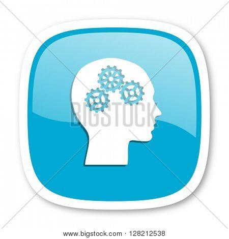 head blue glossy icon