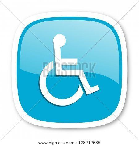 wheelchair blue glossy icon