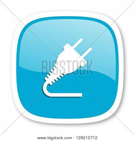 plug blue glossy icon