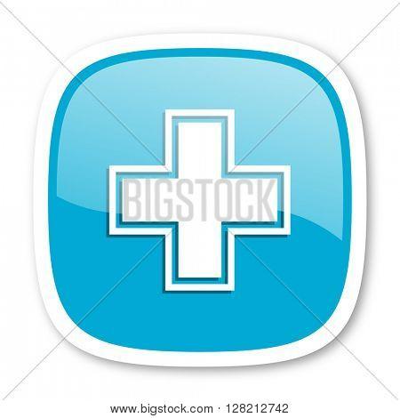 pharmacy blue glossy icon